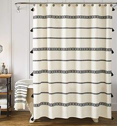 YoKii Tassel Fabric Shower Curtain, Black and Beige Stripe Print Boho Polyester Bath Curtain Set with Hooks, Decorative Spa Hotel Heavy Weighted Bathroom Curtains, x Black and Beige): Home & Kitchen Shabby Chic Shower Curtain, Farmhouse Shower Curtain, Bathroom Shower Curtain Sets, Extra Long Shower Curtain, Modern Shower Curtains, Striped Shower Curtains, Black Curtains, Shower Curtain Hooks, Bathroom Shower Curtains