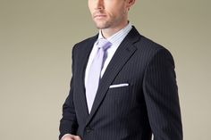 Classic Navy Blue Pinstripe Mens Formal Suit,$340