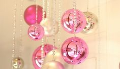 gold and pink ornaments