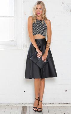 Rock In Skirt in Black Leatherette | SHOWPO Fashion Online Shopping