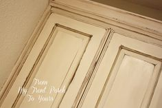 Great tutorial for chalk painting cabinets.   Old Ochre Annie Sloan Chalk Painted Kitchen Cabinets- From My Front PorchTo Yours
