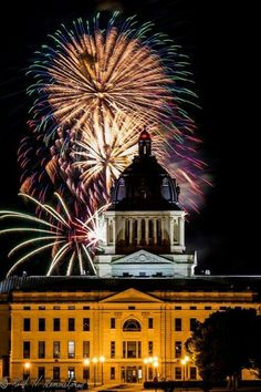 Keith Hemmelman's photo of fireworks over Pierre Capitol 2016