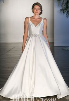 "Brides.com: . Style 8123, ""Maribella"" satin wedding dress with crystal beaded waistline, Mori Lee by Madeline Gardner"