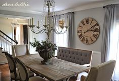 Gray Owl paint color at Dear Lillie: Our Updated Dining Room with a New Farmhouse Table and Rolling Shelves Dining Room Design, Dining Room Table, Dining Rooms, Table Bench, Bench Seat, Dining Area, Dining Chairs, Dining Room Inspiration, Home Decor Inspiration
