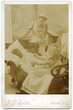"""Nurses Give Medicine Care for Sick Woman 1880s Cabinet Card Photo Willard NY 