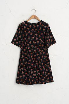 Olive - Floral Point Dress, Black, £65.00…