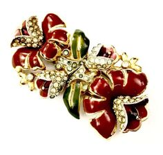 CORO DUETTE DEEP RED & GREEN ENAMELED FLORAL W PAVE BROOCH PIN DUETTE