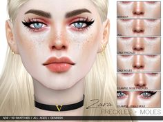 Freckles + Moles in 29 variations. Found in TSR Category 'Sims 4 Female Skin Details'