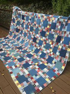 Ideas For Mens Patchwork Shirt Denim Quilts Colchas Quilt, Plaid Quilt, Scrappy Quilts, Easy Quilts, Denim Quilts, Shirt Quilts, Bandana Quilt, Block Quilt, Quilt Bedding