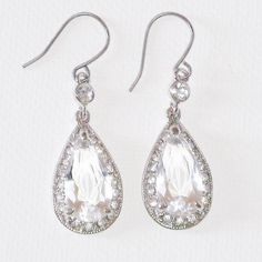 Monet Crystal Pave Drop Earrings from Bijoux Closet