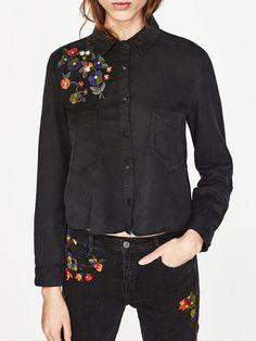#AdoreWe #JustFashionNow yinbo❤️Designer Womens Black Long Sleeve Pockets Embroidered Shirt - AdoreWe.com