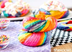 Colorful rainbow bagels topped with Funfetti cream cheese will make your morning bright. Rainbow Bagel Recipe, Purple Food Coloring, Homemade Bagels, Candy Sprinkles, Coconut Bars, Rainbow Food, Pink Foods, Cream Cheese Recipes, Colorful Party
