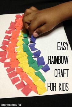 A torn paper rainbow os an easy spring fine motor craft for kids!