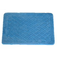 With this blue memory foam bath rug, your feet will be comfortable and warm when you step out of the shower. Crafted with a supportive foam base and a skid-resistant elastic backing, the rug is designed to stay in place without slipping or bunching.