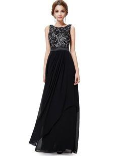 Ever Pretty Elegant Sleeveless Round Neck Evening Party Dress (Black) #EveningDress