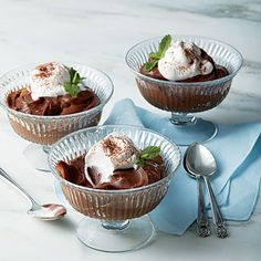 Chocolate-Buttermilk Pudding | This is the perfect chocolately treat. Top with a dollop of buttermilk cream and a sprig of mint for the ultimate dish.