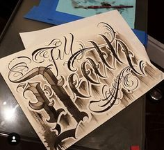 Chicano Lettering Calligraphy Tattoo, Tattoo Lettering Fonts, Font Art, Tattoo Script, Hand Lettering, Typography, Chicano Lettering, Graffiti Lettering, Cursive Letters