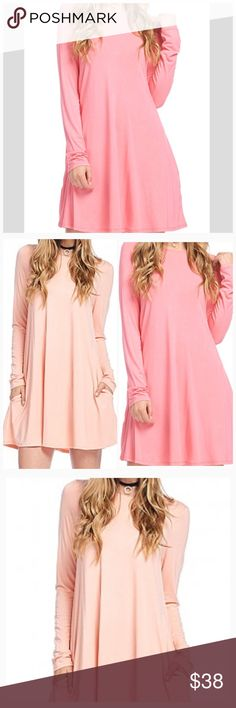 Bamboo Fabric Long Sleeve Dress with Pocket Detail So pretty and dreamy, comfortable in coral. 💖 This sweet dress features pocket details with long sleeves. Lightweight but not sheer, and stretchy. 96% Viscose from Bamboo 4% Spandex. S 4-6 Bust 33.5-35.5 M is US 8-10 Bust 36-38  L is US 12-14 Bust 38-40 Additional measurements on request. Dresses Long Sleeve