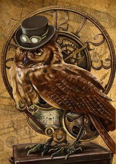 owl steampunk by on DeviantArt Pictures For Sale, Owl Pictures, Vintage Pictures, Steampunk Kunst, Steampunk Cat, Steampunk Images, Steampunk Necklace, Steampunk Fashion, Graffiti Kunst