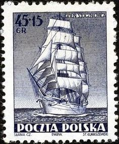 The Dar Pomorza is a Polish full-rigged sailing ship built in Interestingly though, she wasn't initially Polish. Old Stamps, Vintage Stamps, Postage Stamp Design, Boat Drawing, Postage Stamp Collection, Commemorative Stamps, Antique Maps, Stamp Collecting, School Posters