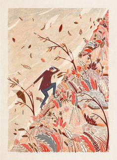 Illustration by Adam Hancher (via designworklife) #AdamHancher #wind #umbrella