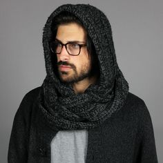 Fresh Hooded Scarf to handle those grueling winter gusts. Pick one up at http://www.kingandfifth.com/collections/mens-hooded-scarf/products/mens-the-santos-black-charcoal-marl
