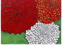 Dahlia flower 'Dahlia Trio' west coast art card by April Lacheur  Yapes Paints on Etsy, $5.23 CAD www.YapesPaints.com