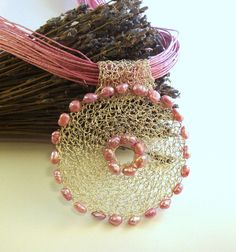 Pink crochet wire necklace open work pendant pearls by dekkoline, $50.00