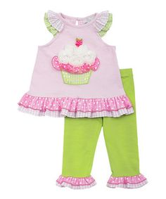 Rare Editions pink Knit Sleeveless Top w/cupcake Applique & Leggings Toddler Outfits, Kids Outfits, Toddler Girls, Infant Toddler, Infant Girls, Baby Girls, New Girl, American Girl, Birthday Party Outfits