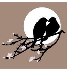 Two birds on a brunch on a gray circle background Vogel Silhouette, Bird Silhouette Art, Silhouette Painting, Bird Stencil, Stencil Art, Clay Wall Art, Bird Drawings, Bird Art, Amazing Art
