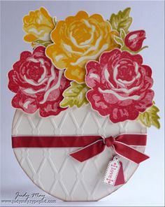 Bowl-of-Roses card by Judy May.... (like a 'flower pot card' where you pull up on the flower to reveal the card sentiments tucked down in pocket)