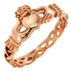 Rose Gold Stainless Steel Claddagh Ring with Celtic Knot Eternity Design Women & Girls - Sizes 4 - 8 West Coast Jewelry, http://www.amazon.com/dp/B00918AGUQ/ref=cm_sw_r_pi_dp_IU.Oqb084EPS9