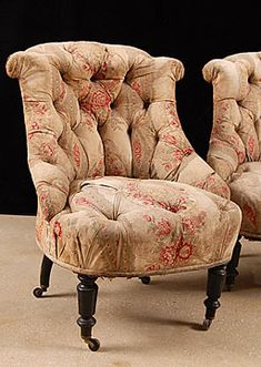Pair of Napoleon III Period French Vintage Tufted Slipper Chairs