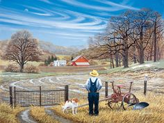 """""""Anticipation"""" - by John Sloane Farm Paintings, Landscape Paintings, Landscape Watercolour, Nostalgic Art, Farm Art, Country Landscaping, Country Scenes, Country Art, Country Kitchen"""