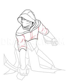 How To Draw An Assassin, Step by Step, Drawing Guide, by NeekoNoir Female Drawing Base, Male Figure Drawing, Knight Drawing, Warrior Drawing, Medieval Drawings, Fantasy Drawings, Drawing Reference Poses, Drawing Poses, Character Drawing