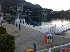 beach in front of the lake, Lecco