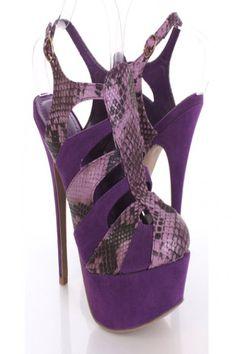 Purple Closed Toe Animal Strappy Cutout Platform Heels