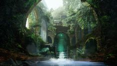 Fantasy thicket water arch people Art ruins wallpaper | 2000x1132 | 487726 | WallpaperUP