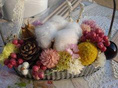 ハンドメイド ナチュラル雑貨 ブリキのトレーに花のアレンジA インテリア Handmade interior goods ¥850yen 〆04月28日