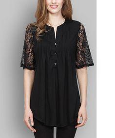 Black Lace Notch Neck Tunic #zulily #zulilyfinds