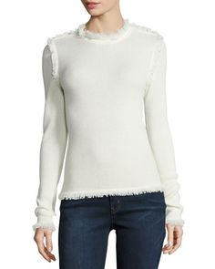 Fringe-Trim Waffle-Knit Sweater, Cream