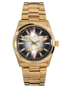 Zadig & Voltaire Gold Crystal Wings Watch