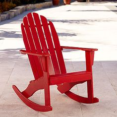 Pompeian Red Classic Adirondack Rocker   Traditional   Outdoor Chairs      By World Market
