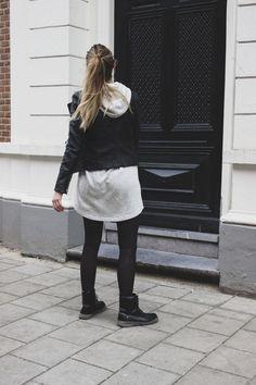 sweatshirt dress comfy leather jacket cool