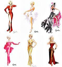 william travilla costume designer | Costume designs by William Travilla for Marilyn Monroe