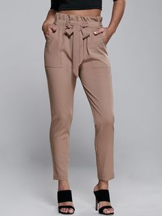 Belted Slimming Narrow Feet Pants in Khaki | Sammydress.com