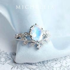 Matching Wedding Bands, Wedding Matches, Wedding Rings, Blue Wedding, Wedding Stuff, Rose Gold Moonstone Ring, Rainbow Moonstone, Round Diamond Ring, Marquise Diamond