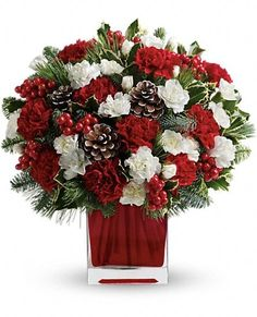 """Make them merry with this sweet bouquet! Red carnations and white carnations are beautifully presented in our bright red glass cube.%0D%0ARed carnations and white miniature carnations are accented with tips of noble fir, white pine, holly and assorted greens.%0D%0ADelivered in a bright red glass cube.%0D%0AApproximately 11 1/2"""" W x 12 1/2"""" H"""