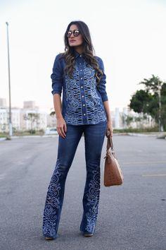 A querida Amanda Coutinho com look total #jeans Carmen Steffens