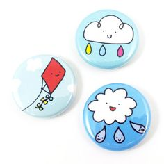 Magic Weather Button Set by sugarcookie on Etsy Funny Buttons, Cool Buttons, Paper Christmas Decorations, Weathered Paint, Badge Design, Hand Painted Rocks, Pin And Patches, Diy Clay, Diy Arts And Crafts